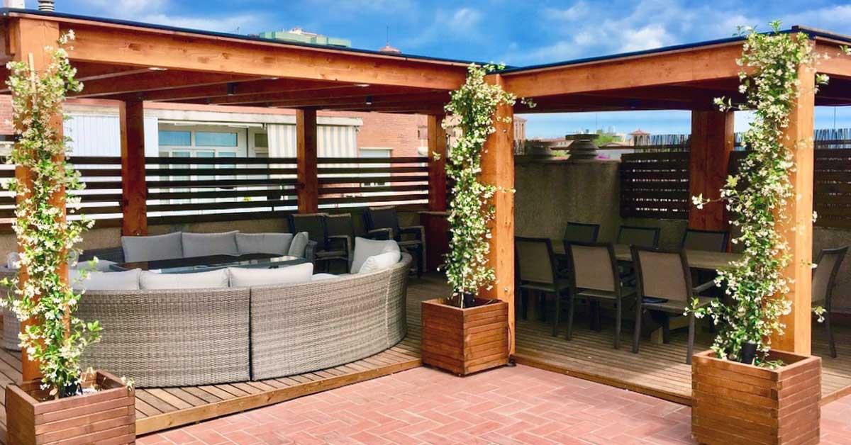 pèrgola fusta terrassa